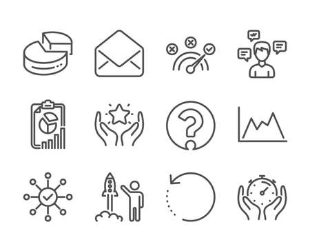 Set of Education icons, such as Mail, Report, Launch project, Question mark, Ranking, Correct answer, Conversation messages, Pie chart, Timer, Diagram, Recovery data, Survey check. Mail icon. Vector