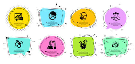 Time management, Face accepted and Sunny weather line icons set. Chat bubbles with quotes. Capsule pill, Chemistry lab and Pie chart signs. Accounting, Consolidation symbols. Vector