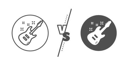 Music sign. Versus concept. Electric guitar line icon. Musical instrument symbol. Line vs classic electric Guitar icon. Vector