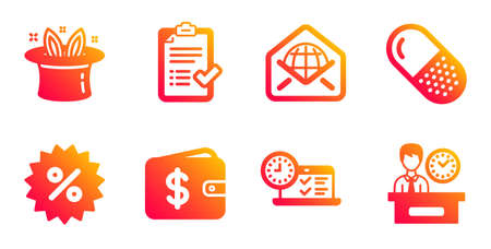 Capsule pill, Discount and Dollar wallet line icons set. Hat-trick, Web mail and Online test signs. Approved checklist, Presentation time symbols. Medicine drugs, Special offer. Business set. Vector