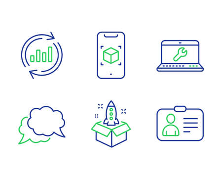 Startup, Update data and Chat message line icons set. Laptop repair, Augmented reality and Id card signs. Innovation, Sales chart, Speech bubble. Computer service. Technology set. Vector