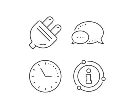 Electric plug line icon. Chat bubble, info sign elements. Energy sign. Electricity power symbol. Linear electric plug outline icon. Information bubble. Vector