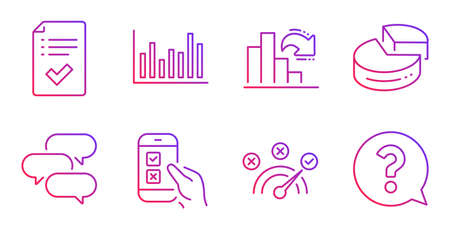 Correct answer, Approved checklist and Bar diagram line icons set. Talk bubble, Mobile survey and Pie chart signs. Decreasing graph, Question mark symbols. Speed symbol, Accepted message. Vector