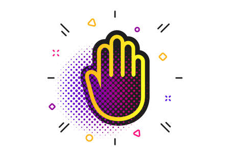 Hand sign icon. Halftone dots pattern. No Entry or stop symbol. Give me five. Classic flat hand icon. Vector