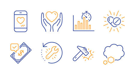 Medical drugs, Love chat and Report timer line icons set. Hold heart, Recovery tool and Accepted payment signs. Hammer blow, Talk bubble symbols. Medicine pills, Smartphone. Business set. Vector Illustration