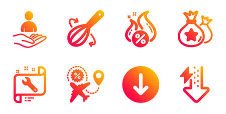 Loyalty points, Flight sale and Scroll down line icons set. Cooking whisk, Spanner and Hot loan signs. Recruitment, Energy drops symbols. Money bags, Travel discount. Business set. Vector