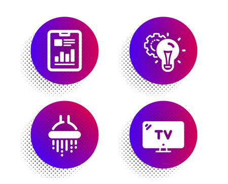 Idea gear, Shower and Report document icons simple set. Halftone dots button. Tv sign. Technology process, Bathroom, Page with charts. Television. Business set. Classic flat idea gear icon. Vector