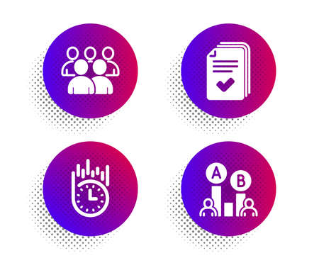 Fast delivery, Handout and Group icons simple set. Halftone dots button. Ab testing sign. Stopwatch, Documents example, Developers. Test chart. Technology set. Classic flat fast delivery icon. Vector