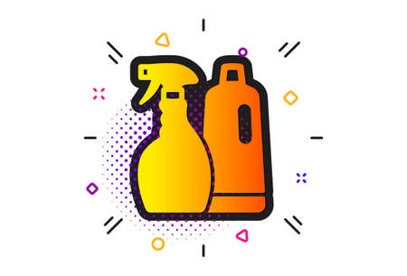Washing liquid or Cleanser symbol. Halftone circles pattern. Cleaning spray and Shampoo icon. Housekeeping equipment sign. Classic flat shampoo and Spray icon. Vector Ilustração