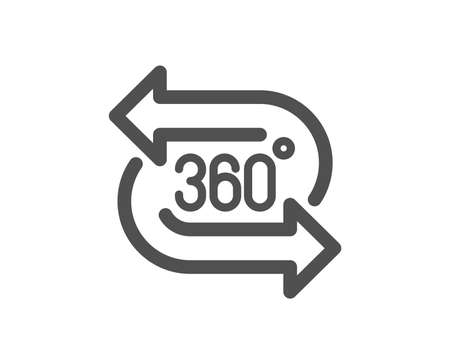 VR technology simulation sign. 360 degree icon. Panoramic view symbol. Classic flat style. Simple 360 degree icon. Vector 版權商用圖片 - 134602785