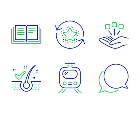Education, Consolidation and Train line icons set. Anti-dandruff flakes, Loyalty points and Chat message signs. Instruction book, Strategy, Tram. Healthy hair. Technology set. Vector