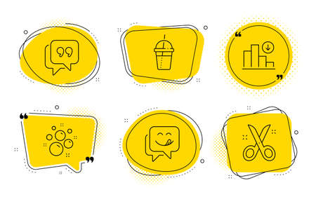 Coffee cocktail, Quote bubble and Scissors signs. Chat bubbles. Clean bubbles, Yummy smile and Decreasing graph line icons set. Laundry shampoo, Emoticon, Crisis chart. Milkshake. Business set. Vector