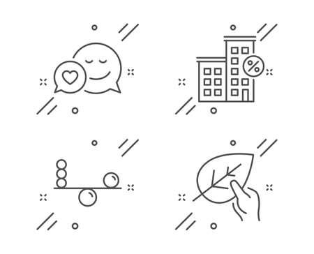 Loan house, Dating and Balance line icons set. Organic tested sign. Discount percent, Love messenger, Concentration. Paraben. Line loan house outline icon. Vector Ilustração
