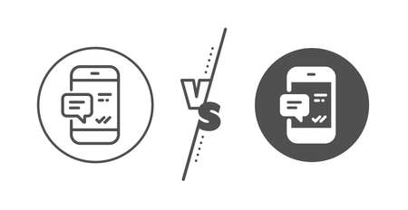 Mobile chat sign. Versus concept. Phone Message line icon. Conversation or SMS symbol. Line vs classic smartphone notification icon. Vector Illustration