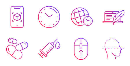 Time zone, Augmented reality and Medical syringe line icons set. Capsule pill, Time and Copyright laptop signs. Swipe up, Face scanning symbols. World clock, Phone simulation. Science set. Vector Çizim