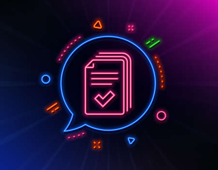 Handout line icon. Neon laser lights. Documents example sign. Glow laser speech bubble. Neon lights chat bubble. Banner badge with handout icon. Vector Illustration