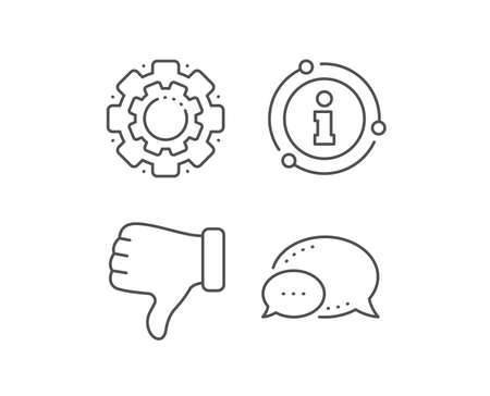 Dislike hand line icon. Chat bubble, info sign elements. Thumbs down finger sign. Gesture symbol. Linear dislike hand outline icon. Information bubble. Vector Vectores