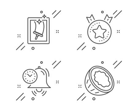 Time management, Window cleaning and Ranking star line icons set. Coconut sign. Alarm clock, Housekeeping service, Winner medal. Vegetarian nut. Business set. Line time management outline icon. Vector