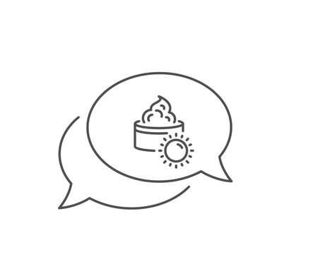 Sun face cream line icon. Chat bubble design. Skin care sign. Cosmetic lotion symbol. Outline concept. Thin line sun cream icon. Vector