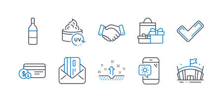 Set of Business icons, such as Shopping, Uv protection, Tick, Wine bottle, Clean skin, Credit card, Payment method, Employees handshake, Weather phone, Arena line icons. Line shopping icon. Vector Standard-Bild - 134603204