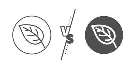 Nature plant sign. Versus concept. Leaf line icon. Environmental care symbol. Line vs classic leaf icon. Vector