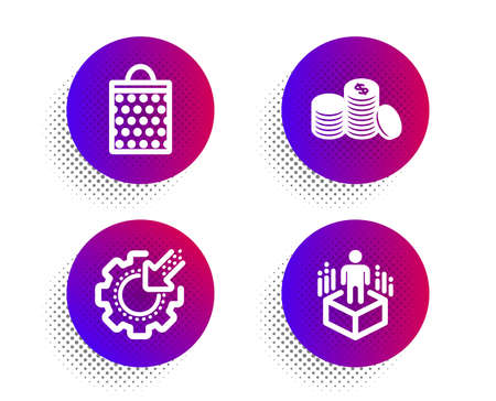 Banking money, Shopping bag and Seo gear icons simple set. Halftone dots button. Augmented reality sign. Cash finance, Paper package, Cogwheel. Virtual reality. Business set. Vector