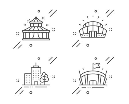 Sports stadium, Skyscraper buildings and Circus line icons set. Arena sign. Championship arena, Town architecture, Attraction park. Sport stadium. Buildings set. Vector