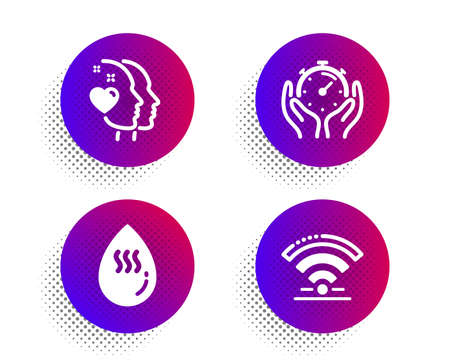 Heart, Timer and Hot water icons simple set. Halftone dots button. Wifi sign. Love head, Deadline management, Aqua drop. Wireless internet. Business set. Classic flat heart icon. Vector Çizim