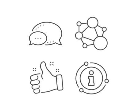 Integrity line icon. Chat bubble, info sign elements. Social network sign. Core value symbol. Linear integrity outline icon. Information bubble. Vector