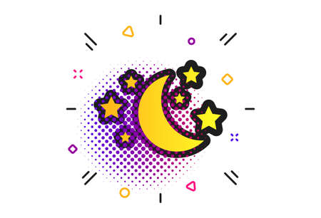 Moon and stars icon. Halftone dots pattern. Sleep dreams symbol. Night or bed time sign. Classic flat moon icon. Vector