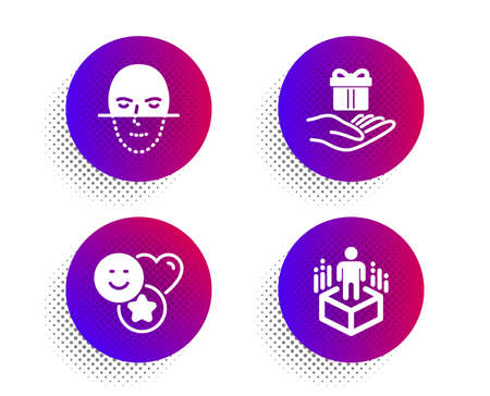 Smile, Face recognition and Loyalty program icons simple set. Halftone dots button. Augmented reality sign. Social media likes, Faces biometrics, Gift. Virtual reality. People set. Vector
