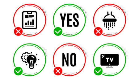 Idea gear, Shower and Report document icons simple set. Yes no check box. Tv sign. Technology process, Bathroom, Page with charts. Television. Business set. Idea gear icon. Check mark. Vector