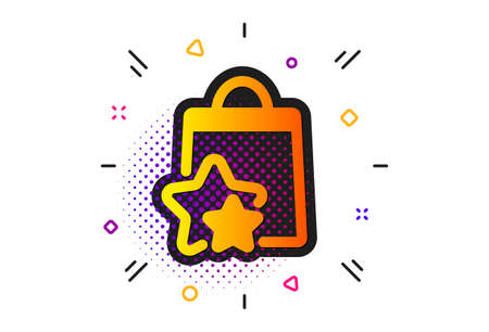 Bonus bags. Halftone circles pattern. Loyalty points icon. Discount program symbol. Classic flat loyalty points icon. Vector