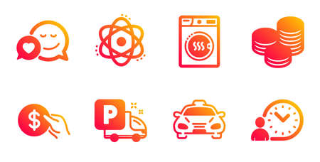 Tips, Atom and Dryer machine line icons set. Dating, Payment and Truck parking signs. Taxi, Time management symbols. Cash coins, Electron. Business set. Gradient tips icons set. Vector Stok Fotoğraf - 134644621