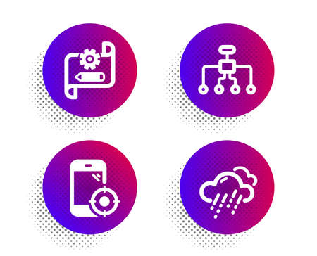 Restructuring, Seo phone and Cogwheel blueprint icons simple set. Halftone dots button. Rainy weather sign. Delegate, Smartphone optimization, Edit settings. Rain. Science set. Vector