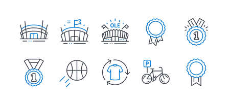 Set of Sports icons, such as Basketball, Approved, Arena, Best rank, Change clothes, Arena stadium, Success, Bicycle parking, Reward line icons. Sport ball, Winner badge. Line basketball icon. Vector Çizim