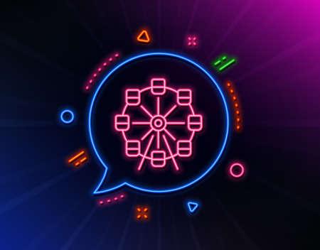 Ferris wheel line icon. Neon laser lights. Amusement park sign. Carousels symbol. Glow laser speech bubble. Neon lights chat bubble. Banner badge with ferris wheel icon. Vector