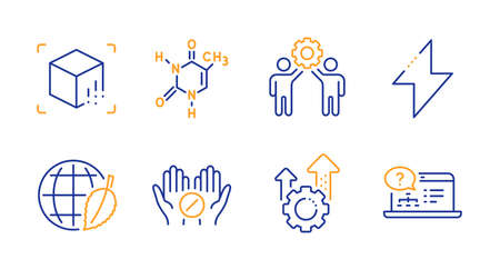 Seo gear, Augmented reality and Employees teamwork line icons set. Environment day, Chemical formula and Medical tablet signs. Energy, Online help symbols. Cogwheel, Virtual reality. Vector Illustration