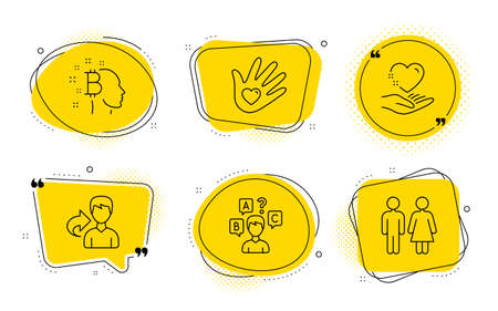 Share, Quiz test and Restroom signs. Chat bubbles. Social responsibility, Hold heart and Bitcoin think line icons set. Helping hand, Care love, Cryptocurrency head. Male user. People set. Vector
