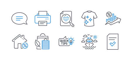 Set of Business icons, such as Chat, Analytics chart, Bio shopping, Clean t-shirt, Loan percent, Printer, Education idea, Ship travel, Loan house, Checked file line icons. Line chat icon. Vector