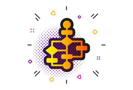 Path scheme sign. Halftone circles pattern. Block diagram icon. Algorithm symbol. Classic flat block diagram icon. Vector
