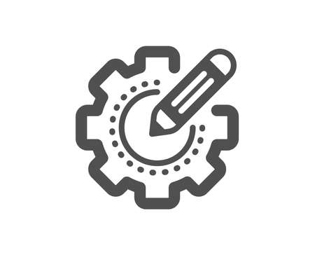 Cogwheel with star sign. Settings gear icon. Edit working process symbol. Classic flat style. Simple settings gear icon. Vector Banco de Imagens - 135122985