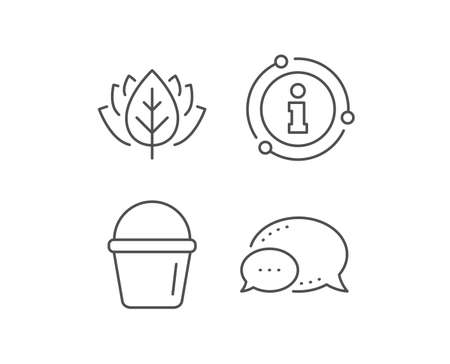 Cleaning bucket line icon. Chat bubble, info sign elements. Washing Housekeeping equipment sign. Linear bucket outline icon. Information bubble. Vector