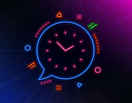 Time management line icon. Neon laser lights. Clock sign. Watch symbol. Glow laser speech bubble. Neon lights chat bubble. Banner badge with time icon. Vector Stok Fotoğraf - 134634698