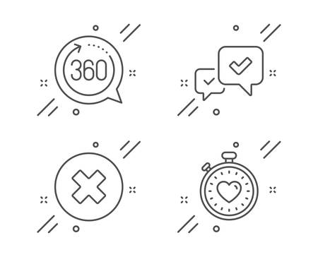 Approve, 360 degrees and Close button line icons set. Heartbeat timer sign. Accepted message, Full rotation, Delete or decline. Love stopwatch. Technology set. Line approve outline icon. Vector
