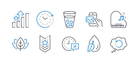 Set of Business icons, such as Messenger mail, Time, Time change, Piano, Water drop, Shoulder strap, Analysis graph, Organic tested, Ice tea, Recovery data line icons. Line messenger mail icon. Vector Stok Fotoğraf - 134634703