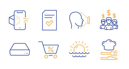 Sunset, Special offer and Salary employees line icons set. Augmented reality, Checked file and Face id signs. Mini pc, Food symbols. Sunny weather, Discounts. Business set. Line sunset icon. Vector