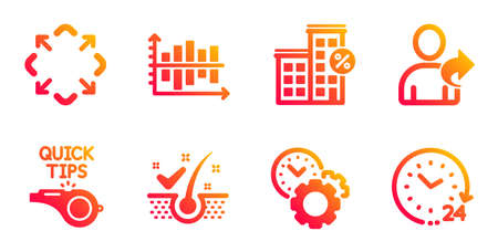 Refer friend, Tutorials and Loan house line icons set. Anti-dandruff flakes, Diagram chart and Maximize signs. Time management, 24 hours symbols. Share, Quick tips. Technology set. Vector Çizim
