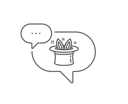 Hat-trick line icon. Chat bubble design. Magic tricks with hat and rabbit sign. Illusionist show symbol. Outline concept. Thin line hat-trick icon. Vector Foto de archivo - 134634734