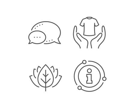 Hold t-shirt line icon. Chat bubble, info sign elements. Laundry shirt sign. Clothing cleaner symbol. Linear hold t-shirt outline icon. Information bubble. Vector